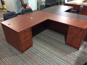 Pielle L-shaped Desk - Cherry